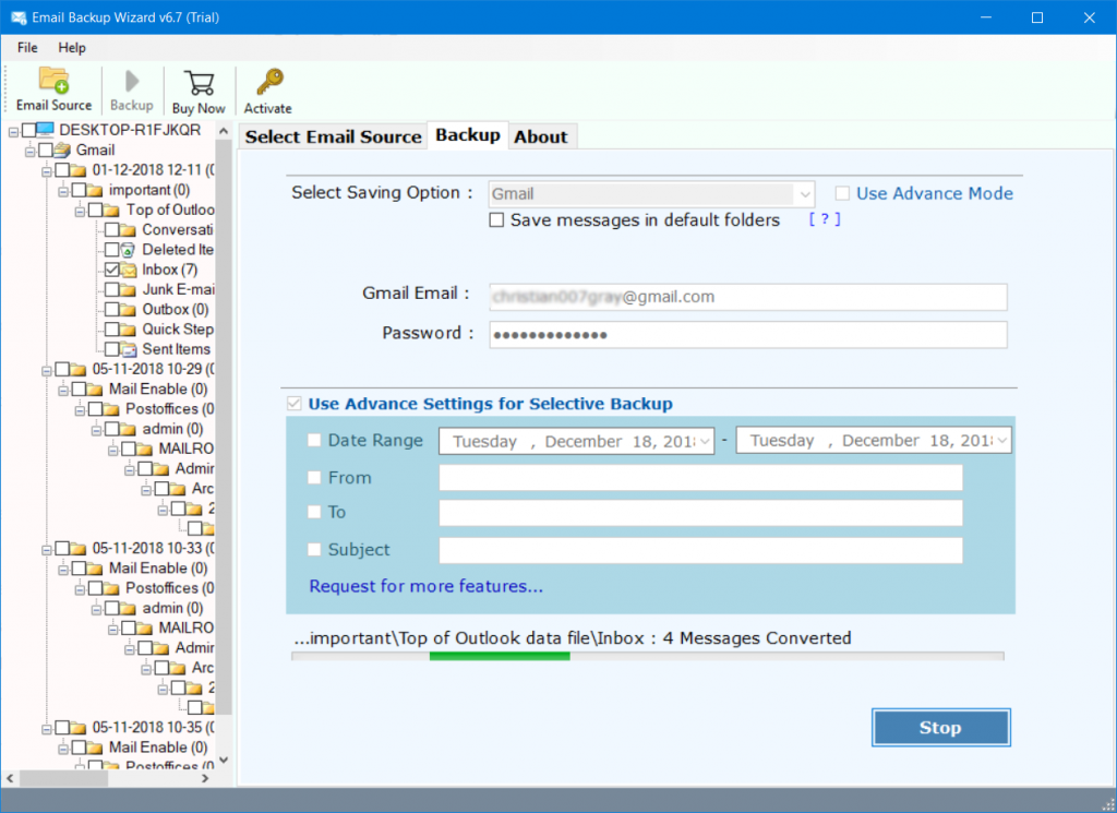 Transfer/Move Emails of GoDadddy to Gmail with Migration Tool