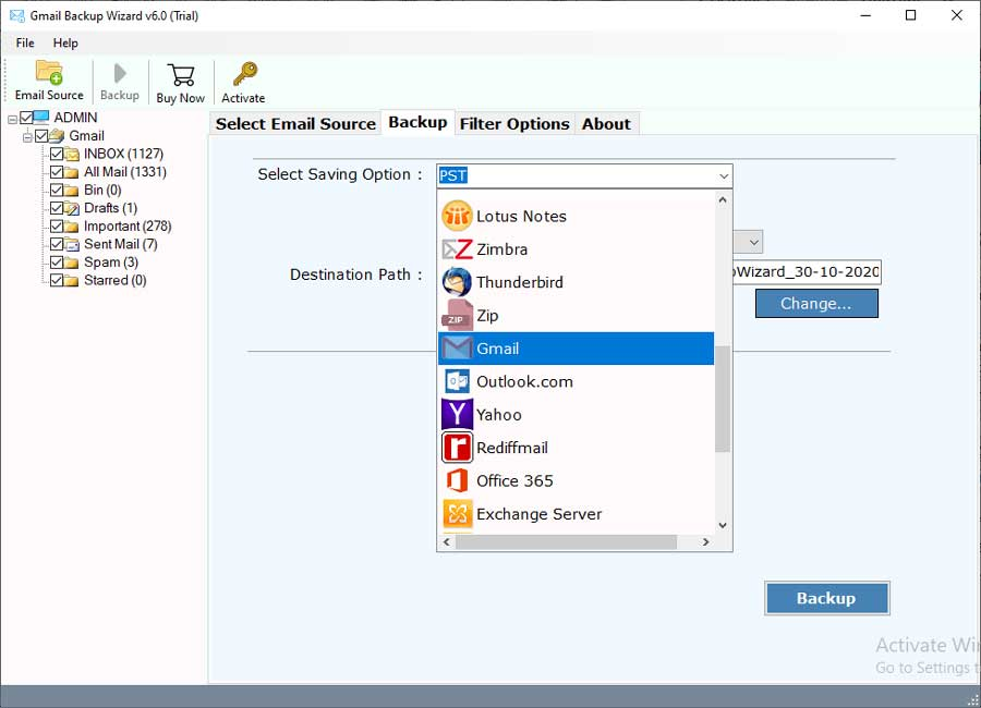 Select Google email folders